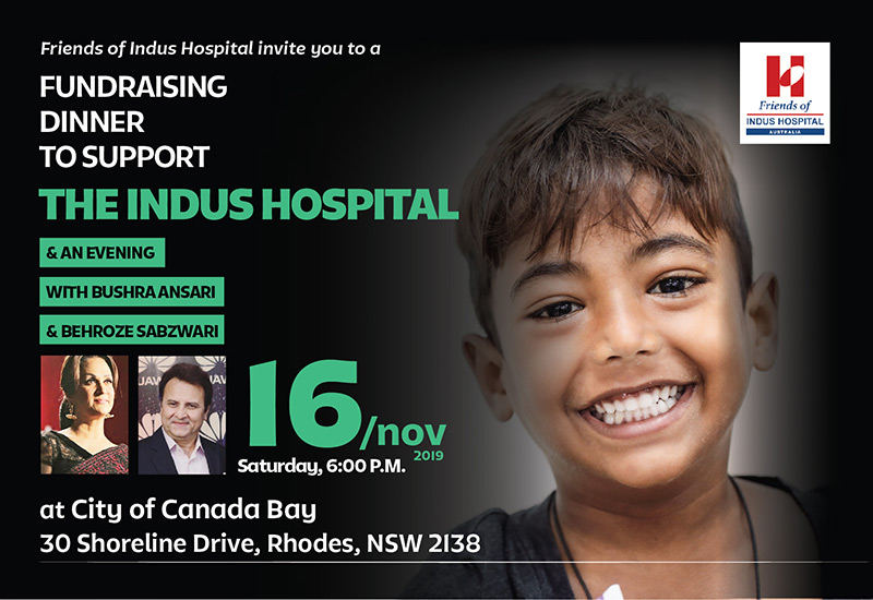 Fundraising dinner in Sydney to support Indus Health Network with Bushra Ansari and Behroze Sabzwari